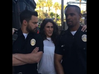 [Brittany Furlan] When I got kicked off the @LetsBeCops set.